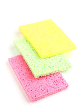 Cellulose sponges isolated on white photo