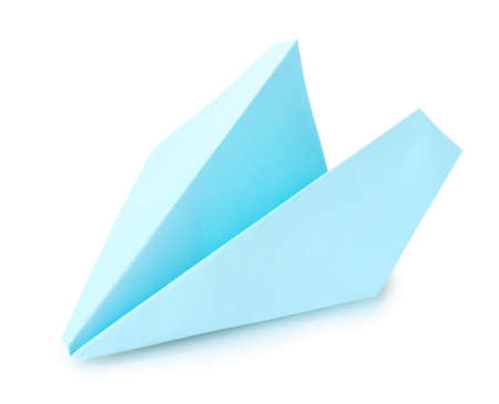 Origami airplane  out of the blue paper isolated on white photo