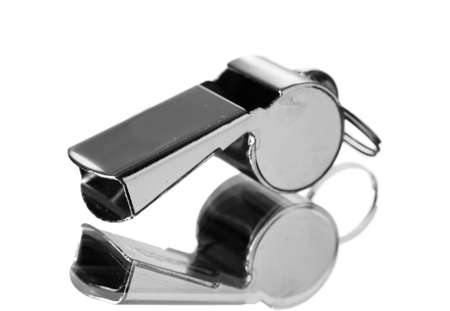 sport metal whistle isolated on white photo