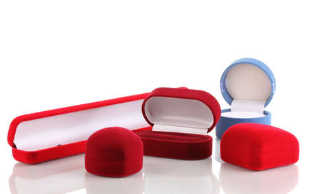 Red jewelry boxes isolated on white Stock Photo - 13162921