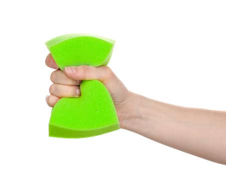 wisp: Sliert bast in de hand op wit wordt geïsoleerd