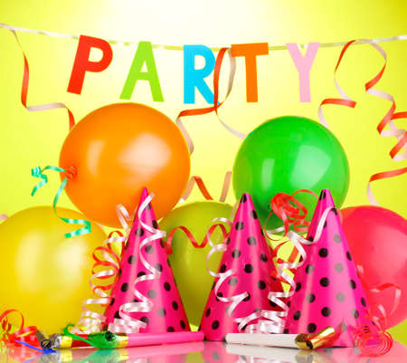 kids party: Party items on green background Stock Photo