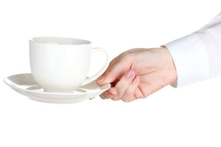 Woman hand with cup of coffee isolated on white photo