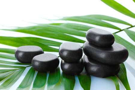 Spa stones on green palm leaf isolated on white photo