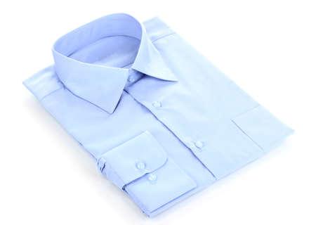 New blue mans shirt isolated on white photo