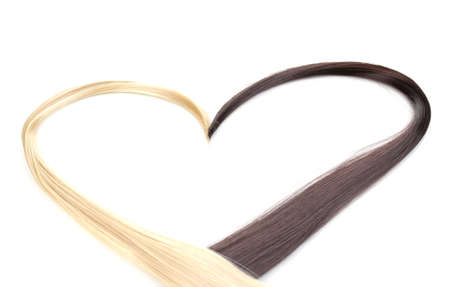 blond streaks: Shiny blond and brown hair isolated on white