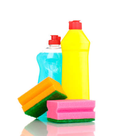 Dishwashing liquids and sponge isolated on white Stock Photo - 13213663