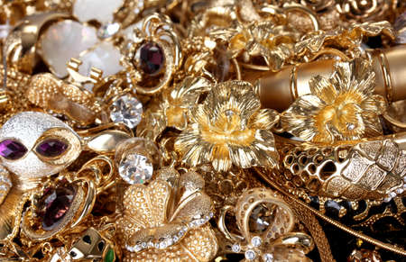 Beautiful golden jewelry close up photo