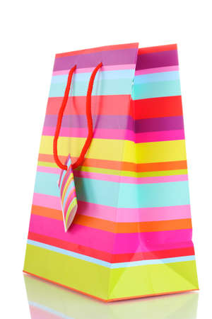 Striped gift bag isolated on white Stock Photo - 13234319