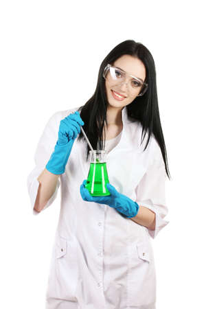 white glove test: Young female scientist holding test-tube isolated on white Stock Photo