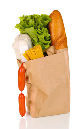 Paper bag with food isolated on white Stock Photo - 13234332