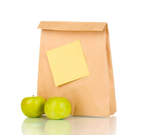 brown paper bags: School lunch isolated on white Stock Photo