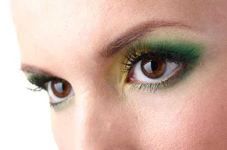 close up eyes: beautiful female eyes with bright make-up