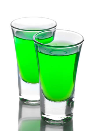intoxicate: Two glasses of absinthe isolated on white Stock Photo