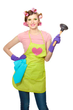 beautiful young housewife isolated on white photo