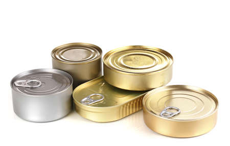 canned goods: Tin cans isolated on white Stock Photo
