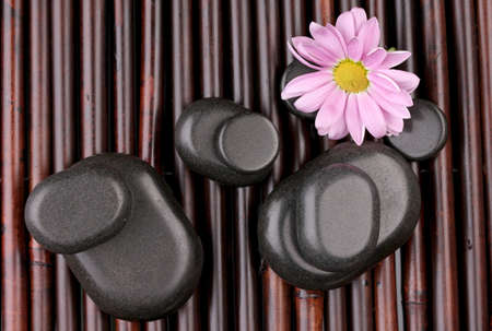 hot rock therapy: Spa stones and flower on bamboo mat Stock Photo