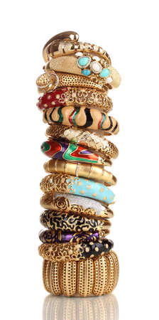gold jewelry: Elegant and fashion golden bracelets isolated on white background Stock Photo