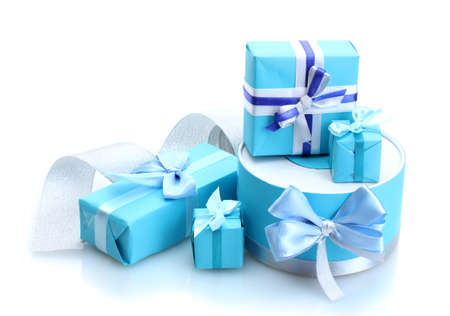 blue gifts with bows isolated on white photo