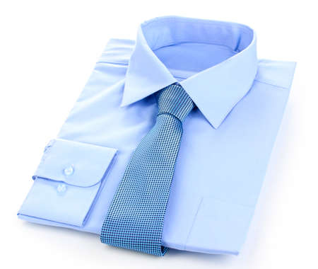 New blue man's shirt and tie isolated on white photo