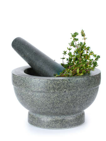 fresh green thyme in mortar isolated on white Stock Photo - 13355999