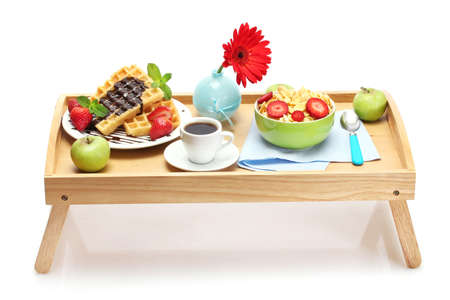 light breakfast on wooden tray isolated on white Stock Photo - 13355995