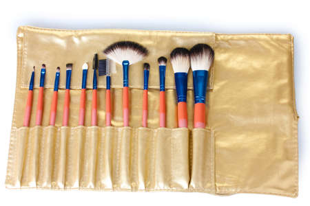 Set of make-up brushes in golden leather case isolated on white Stock Photo - 13356249