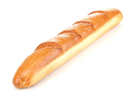 Aromatic baguette isolated on white photo