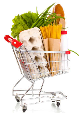 Trolley with food isolated on white Stock Photo - 13356070