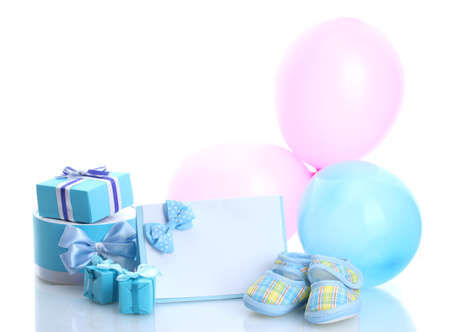 beautiful gifts, baby's bootees, blank postcard and balloons isolated on white Stock Photo - 13355806