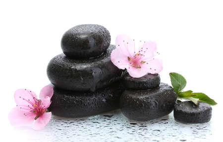Spa stones with drops and pink sakura flowers isolated on white  Stock Photo - 13355970