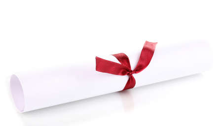Graduation diploma tied with ribbon isolated on white photo