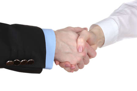 Business handshake isolated on white Stock Photo - 13370107