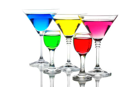 alcoholic cocktails isolated on white photo