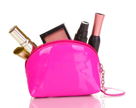 Make up bag with cosmetics isolated on white photo
