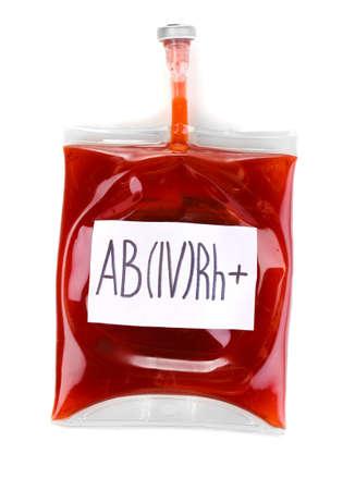 salvavidas: Bolsa de sangre aislado en blanco Foto de archivo