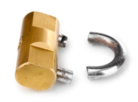 Modern sawn padlock isolated on white Stock Photo - 13370065
