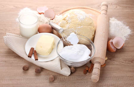 Ingredients for the dough wooden table Stock Photo - 13438163
