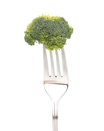 Fresh broccoli on fork isolated on white Stock Photo - 13437570