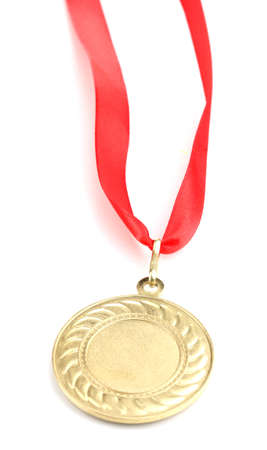 Gold medal isolated on white photo
