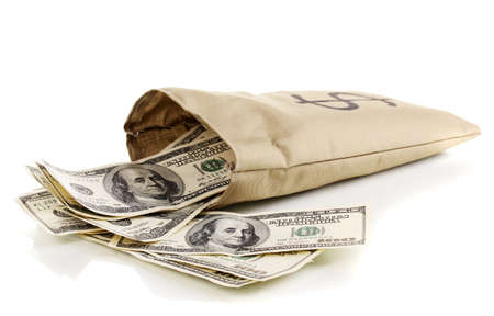 Bag with money isolated on white photo