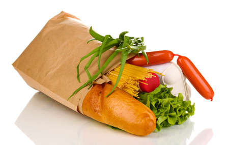 the staple food: Paper bag with food isolated on white