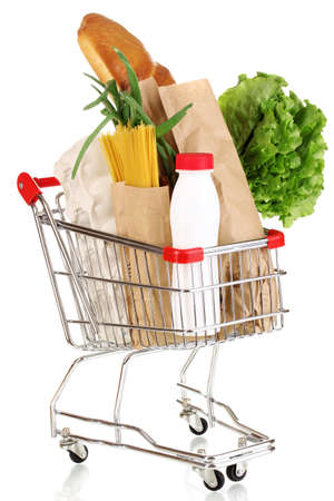 Trolley with food isolated on white Stock Photo - 13438039