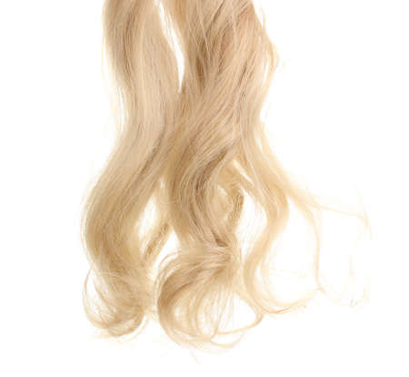 blonde streaks: Curly blond hair isolated on white Stock Photo