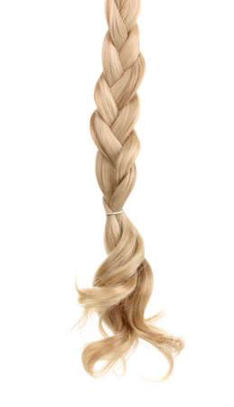 Blond hair braided in pigtail isolated on white photo