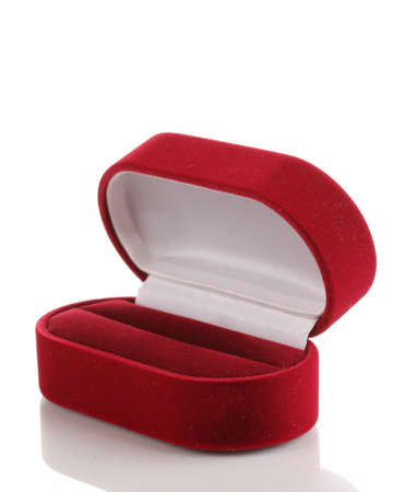 Red jewelry box isolated on white Stock Photo - 13438338