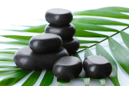 Spa stones on green palm leaf isolated on white Stock Photo - 13438819