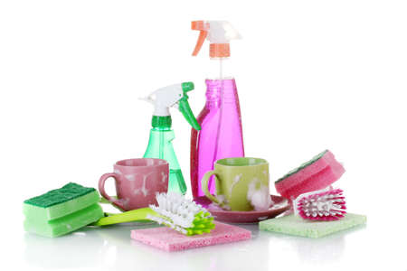 Washing dishes. Cleaning products isolated on white background Stock Photo - 13438538