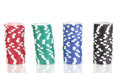 wager: Casino chips isolated on white