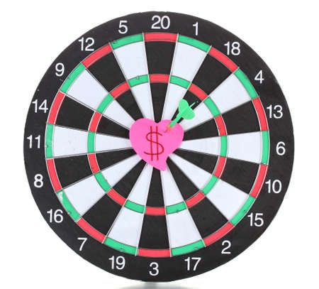 Darts with stickers depicting the life values isolated on white. The darts hit the target. Stock Photo - 13521018
